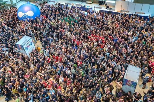 Areal photo of DrupalCon Seattle 2019 attendees