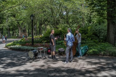 Musicians setting up their instruments on a beautiful day at Central Park.