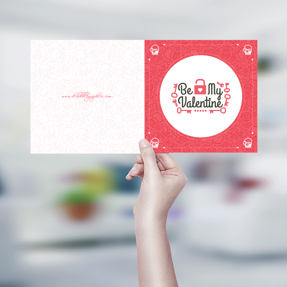 Free Be My Valentine Greeting Card Design Template