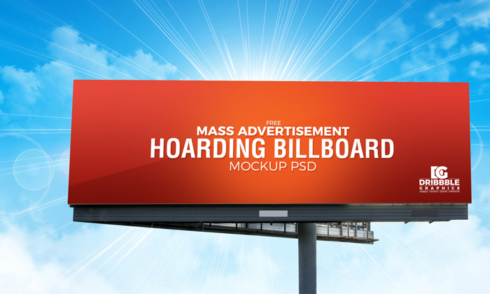 Free Outdoor Mass Advertisement Hoarding Billboard Mockup