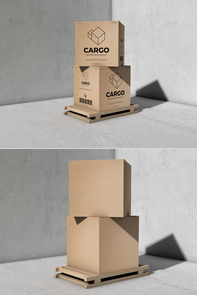 Free Cargo Delivery Box Mockup For Packaging | Dribbble ...