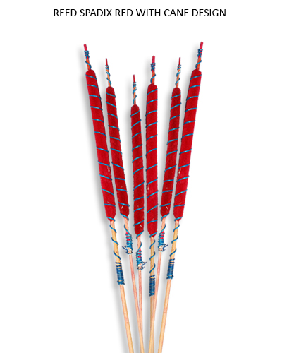 Reed Spadix Red With Cane Design - Bulk Decorative Supplies