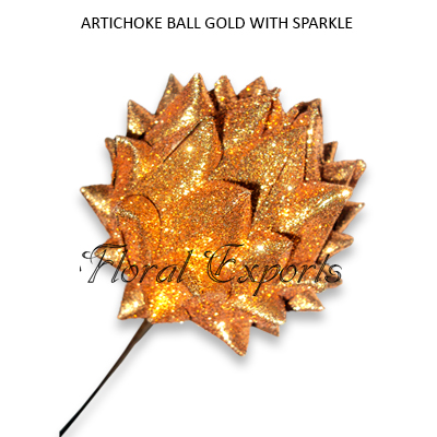 Artichoke Ball Gold Glitter on Stem - Christmas Decorations Wholesale