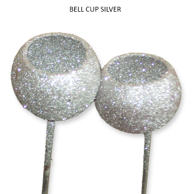 Bell Cup Silver Glitter on Stick