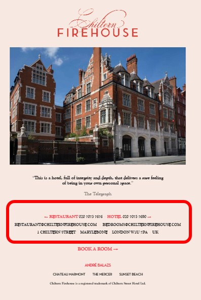 E-mail para reservas no Chiltern Firehouse