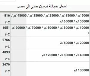 اسعار صيانة نيسان صنى فى مصر