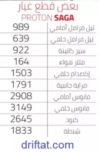 أسعار قطع غيار بروتون ساجا 2020