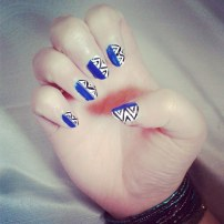Blue black and white aztec