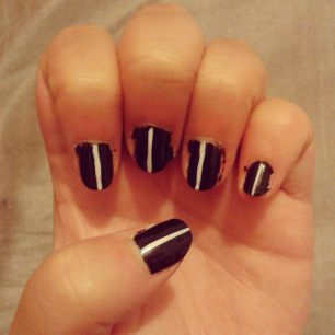 black with white stripe