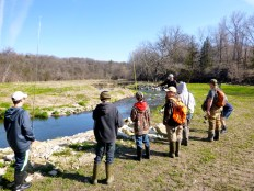 Jared going over some last minute instruction with our middle school fly fishermen.