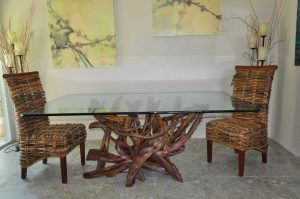 driftwood & glass dining table. driftwood furniture