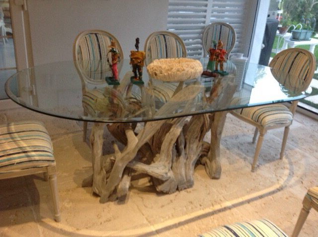 A driftwood dining table for the Bahamas
