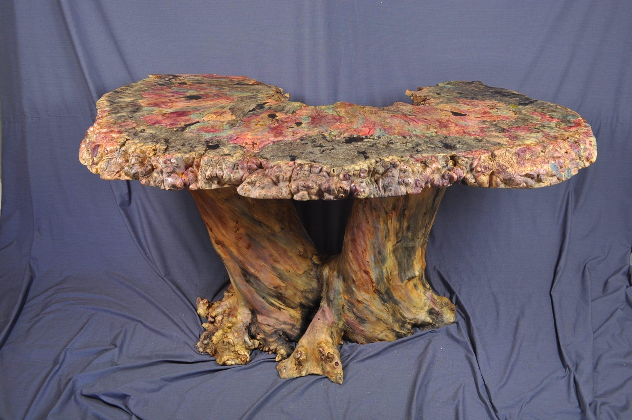 Buckeye burl foyer table