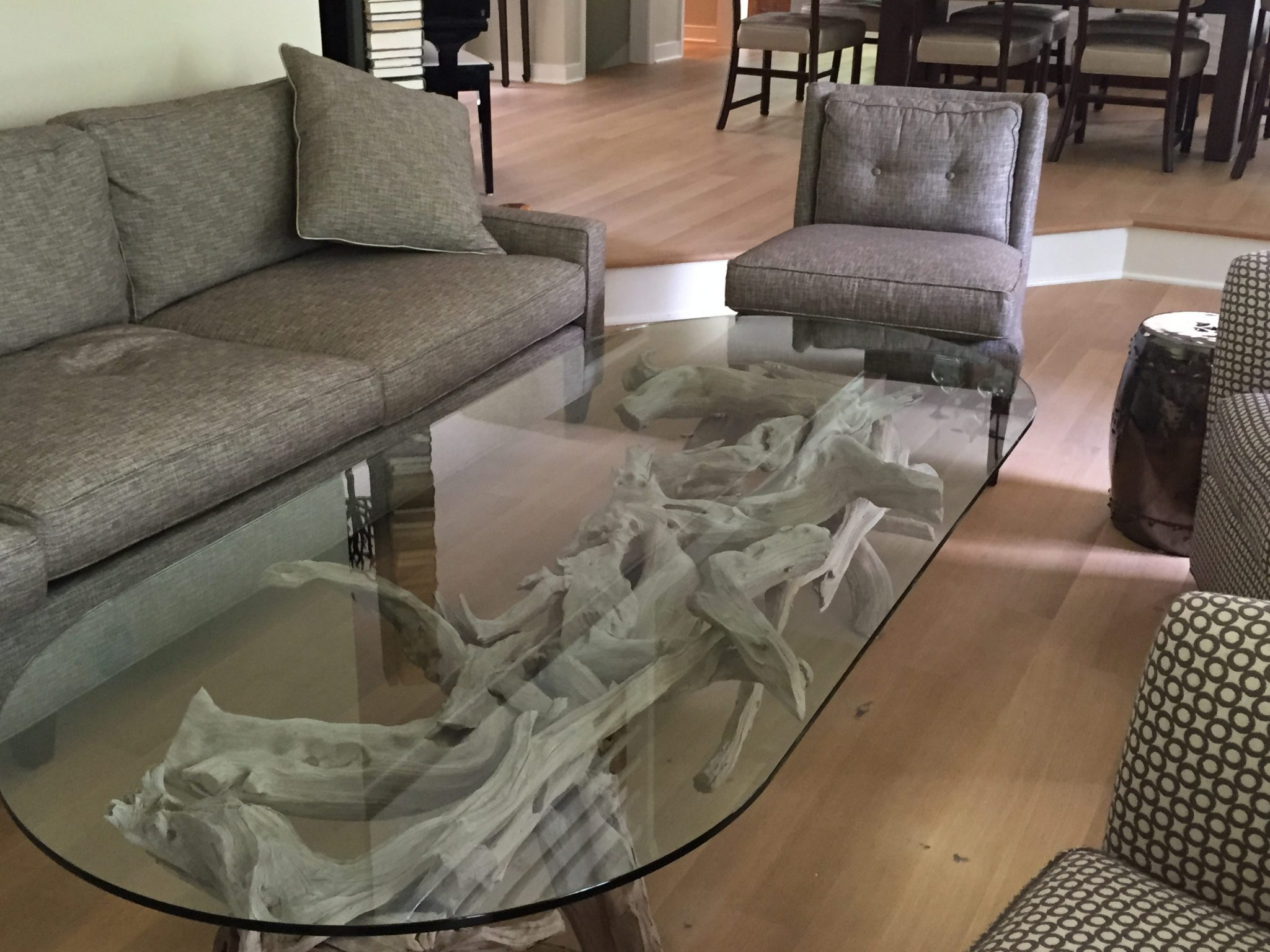 driftwood & glass cfoffee table