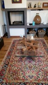 sandblasted driftwood & glass coffee  table