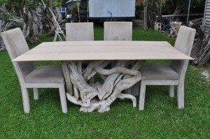 Rectangular dining room table with chair display