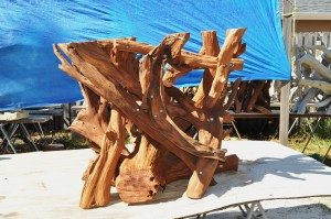Sandblasted trunk side of table