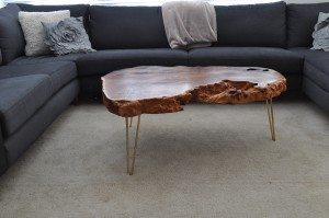 Redwood burl coffee with hairpin legs