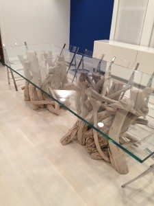 Large driftwood & glass dining table