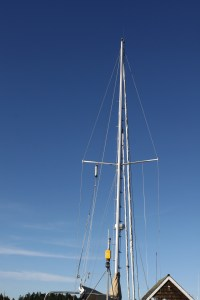 Six steps from the top. Installing mast steps on 'Seafire'.