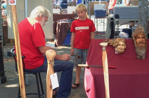 A lesson in the carver's booth