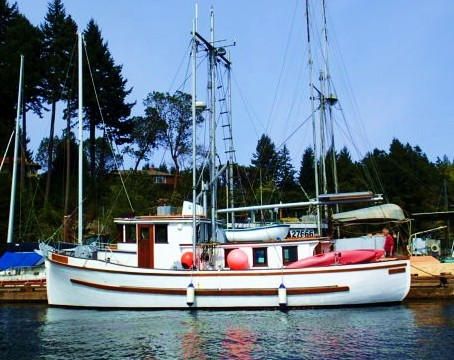 """Elegance. """"If it looks good, it works good.""""... Allen Farrell A beautiful yacht conversion of a wooden salmon. fishing boat."""