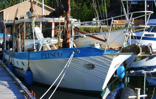 My neighbour. perfect Pacific Northwest year-round liveaboard cruising vessel.