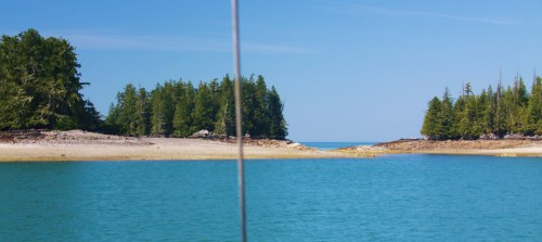 The Roaring Islets. Ivory Island. Open ocean beyond, just Haida Gwaii in the distance.