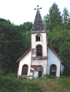 The last I saw of the old church at the Church House Village on Raza Island, 2006