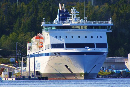 BC Ferrie's 'northern Expedition' in her berth at the Bella Bella terminal. she was held there today while a fleet of fishing boats blocked the passage with their gill nets