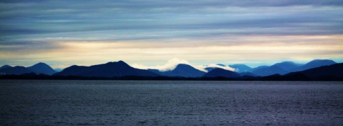 Looking back from Goose Island Anchorage to a bleak sunrise over mainland Canada and the islands that line its foreshore.