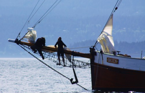 Arrgh1 Furling the headsails, the old fashioned way. Fun in steep seas!