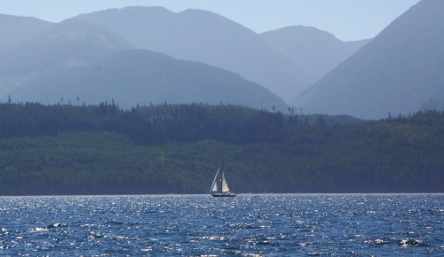 The Sleigh Ride. a gorgeous old sloop runs before the wind in Johnstone Strait. I want to turn downwind to join him, hang out all my laundry and head back south.