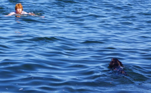More swimmers. Jack and Jill try to convince me of how warm the water is. Haaaa!
