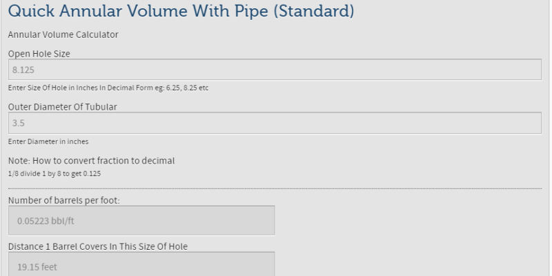 Quick Annular Volume With Pipe (Standard)