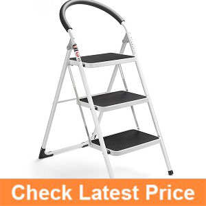 Delxo-3-Step-Ladder-Folding-Step-Stool-Stepladders-with-Handgrip-Anti-slip-and-Wide-Pedal-Sturdy-Steel-Ladder-330lbs-White-and-Black-Combo-(3-feet);