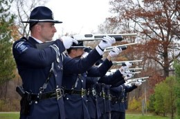 The Sterling Heights Police Honor Guard provided a 21-gun salute in honor of those who have served their country during the city's Veterans Day ceremony Nov. 11. Source photo/Sean Delaney