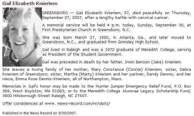 Gail Knieriems Obituary
