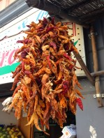 Drying chillies- beautiful food and wine in Tuscany