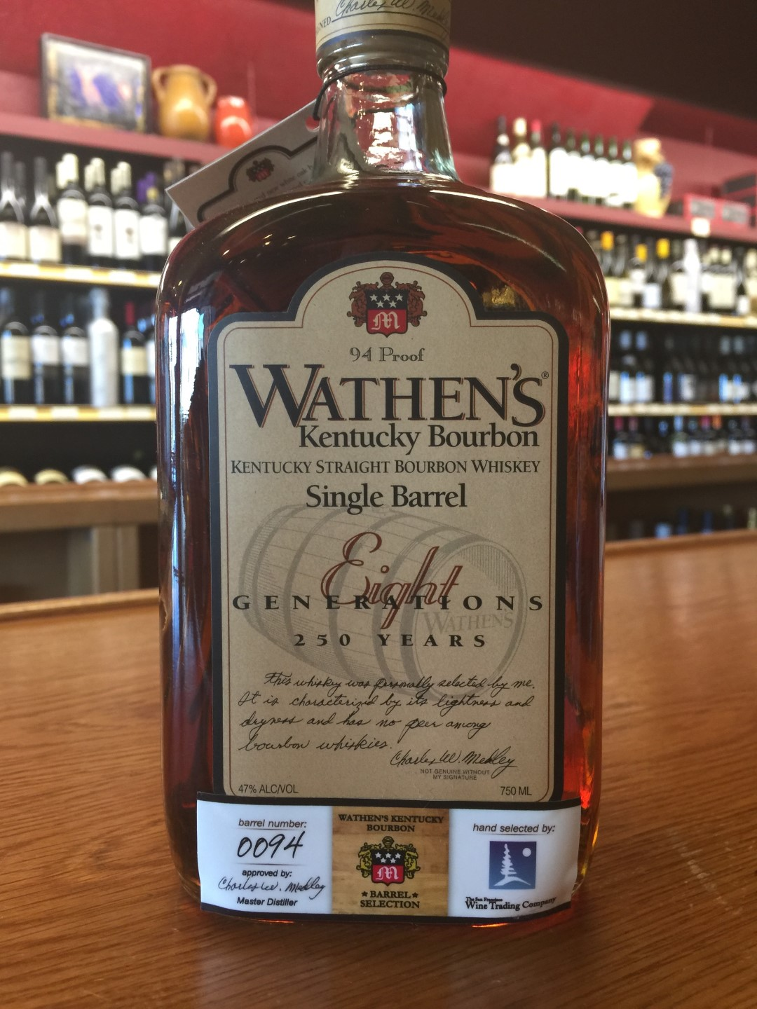 Wathen's Kentucky Bourbon Single Barrel Private Selection from SF Wine Trading