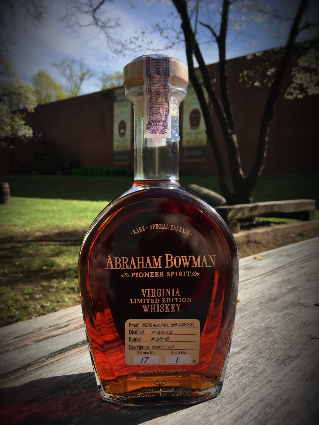 A. Smith Bowman Abraham Bowman Sweet XVI Bourbon