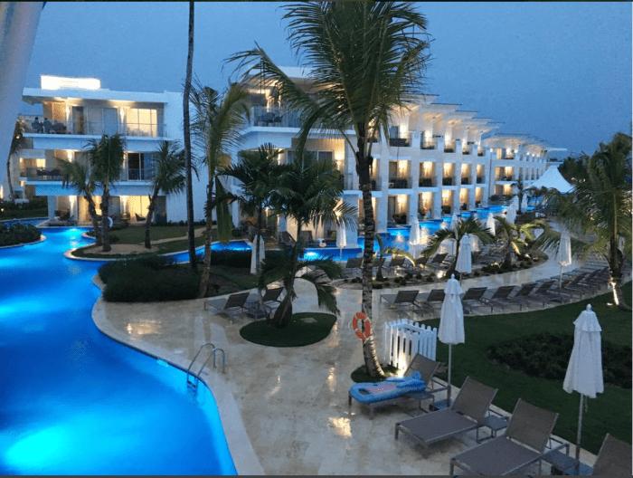 Nickelodeon Resort Punta Cana lit up at night