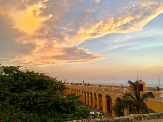 Girls Who Travel | Sunset over the old city wall of Cartagena