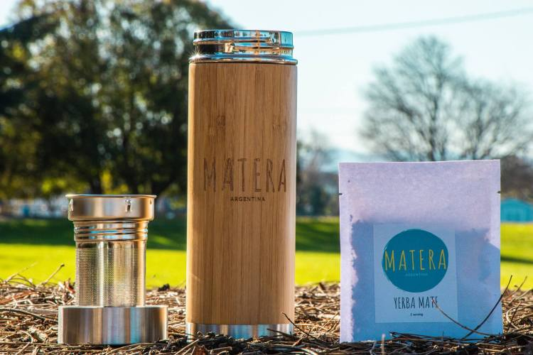 Matherma and infuser for the bottle and single serving packets of yerba mate for sale