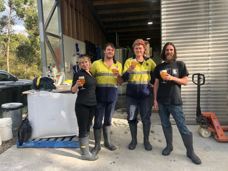 The brewing team at Bruny Island Beer and Cheese