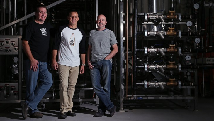 Stone & Wood Brewing Company founders Brad Rogers, Ross Jurisich and Jamie Cook