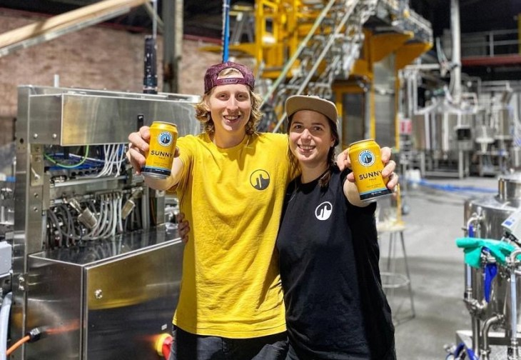 White Bay Beer Co brewers Dennis De Boer and Jess Walker at the brewery in Rozelle, Sydney