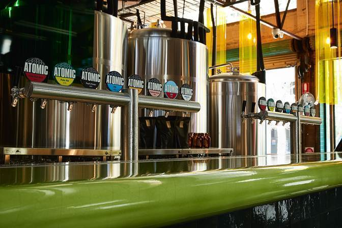 Beer taps at the Atomic brewery, Redfern