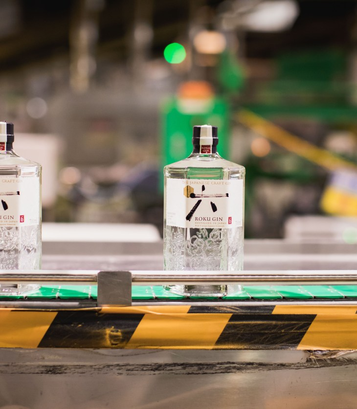 Roku Gin coming off the production line at Suntory's Osaka Plant