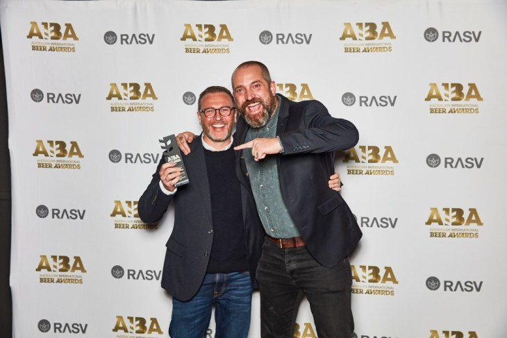 Ewan Brewerton of Mismatch Brewing (L), winner of Best European-Style Lager at the Australian International Beer Awards 2021